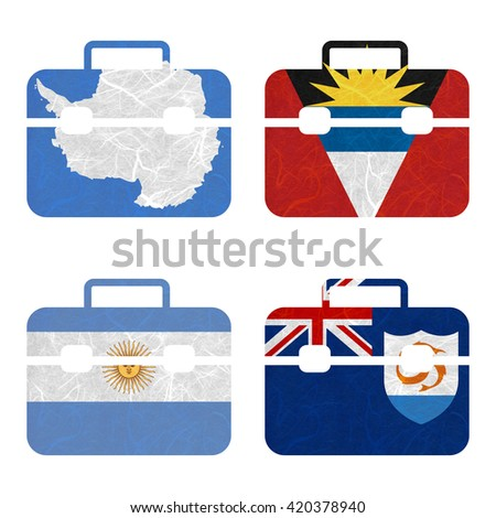 Nation Flag. Bag recycled paper on white background. ( Anguilla , Antarctica , Antigua and Barbuda , Argentina )
