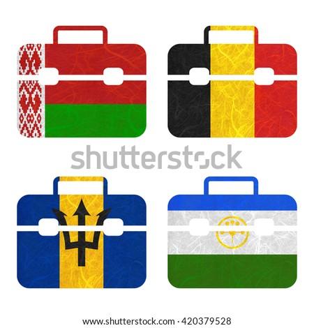 Nation Flag. Bag recycled paper on white background. ( Barbados , Bashkortostan , Belarus , Belgium ) - stock photo