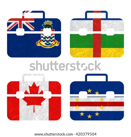 Nation Flag. Bag recycled paper on white background. ( Canada , Cape Verde , Cayman Islands , Central African Republic ) - stock photo