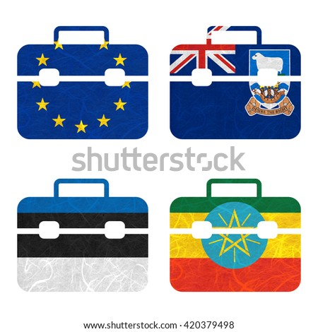 Nation Flag. Bag recycled paper on white background. ( Estonia , Ethiopia , European Union , Falkland Islands ) - stock photo