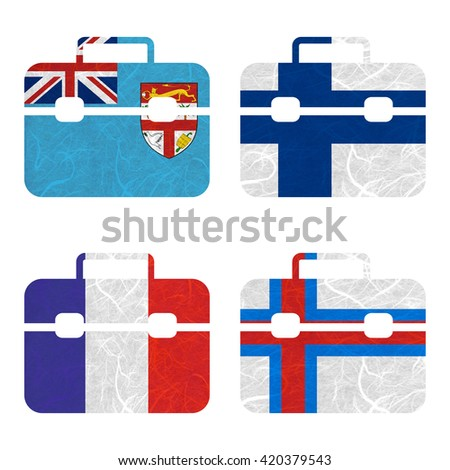 Nation Flag. Bag recycled paper on white background. ( Faroe Islands , Fiji , Finland , France )