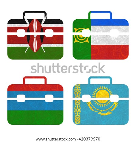 Nation Flag. Bag recycled paper on white background. ( Karelia , Kazakhstan , Kenya , Khakassia ) - stock photo