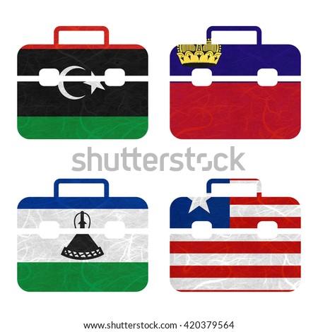 Nation Flag. Bag recycled paper on white background. ( Lesotho , Liberia , Libya , Liechtenstein ) - stock photo