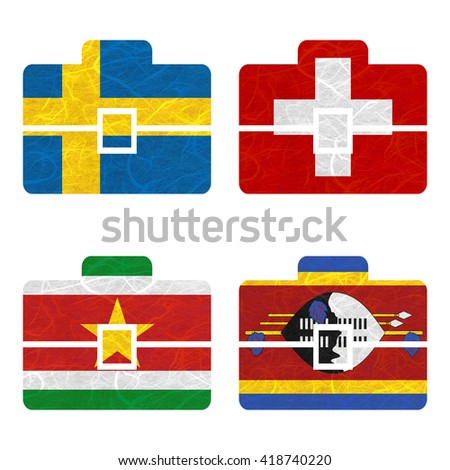 Nation Flag. Bag recycled paper on white background. ( Suriname , Swaziland , Sweden , Switzerland )