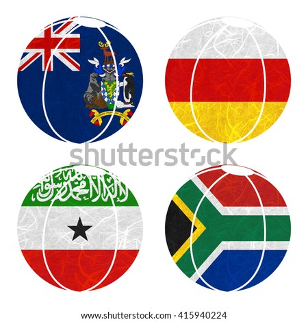 Nation Flag. Ball recycled paper on white background. ( Somaliland , South Africa , South Georgia and the South Sandwich Islands , South Ossetia ) - stock photo