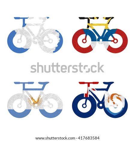 Nation Flag. Bicycle recycled paper on white background. ( Anguilla , Antarctica , Antigua and Barbuda , Argentina ) - stock photo