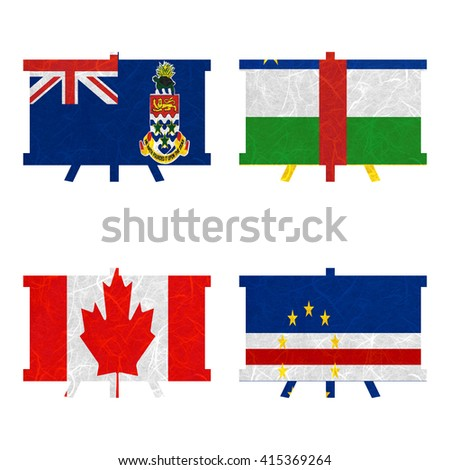 Nation Flag. Board recycled paper on white background. ( Canada , Cape Verde , Cayman Islands , Central African Republic )