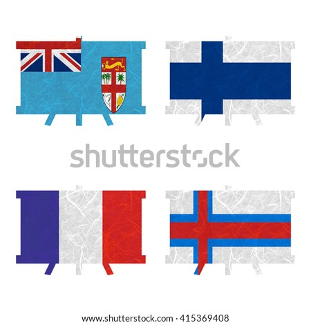 Nation Flag. Board recycled paper on white background. ( Faroe Islands , Fiji , Finland , France )