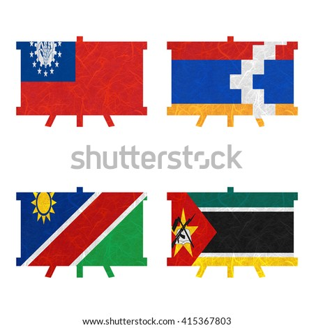 Nation Flag. Board recycled paper on white background. ( Mozambique , Myanmar , Nagorno-Karabakh Republic , Namibia )