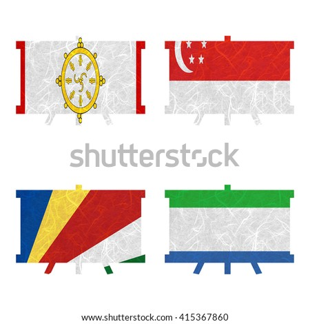 Nation Flag. Board recycled paper on white background. ( Seychelles , Sierra Leone , Sikkim , Singapore )