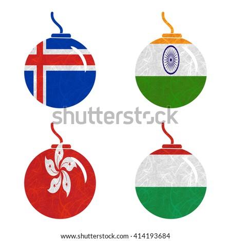 Nation Flag. Bomb recycled paper on white background. ( Hong Kong , Hungary , Iceland , India ) - stock photo