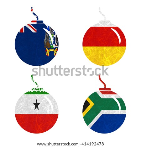 Nation Flag. Bomb recycled paper on white background. ( Somaliland , South Africa , South Georgia and the South Sandwich Islands , South Ossetia ) - stock photo