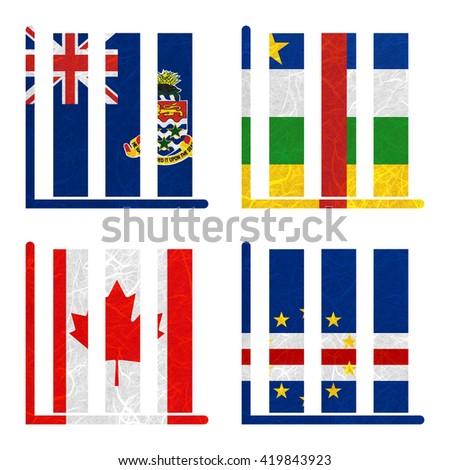 Nation Flag. Book-shelf recycled paper on white background. ( Canada , Cape Verde , Cayman Islands , Central African Republic )