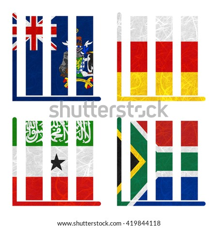 Nation Flag. Book-shelf recycled paper on white background. ( Somaliland , South Africa , South Georgia and the South Sandwich Islands , South Ossetia ) - stock photo