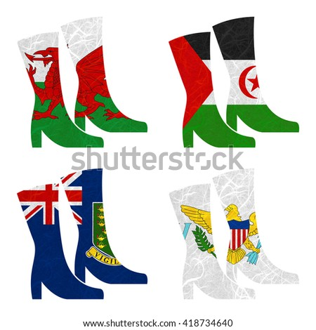 Nation Flag. Boot recycled paper on white background. ( Virgin Islands - UK , Virgin Islands - US , Wales , Western Sahara )