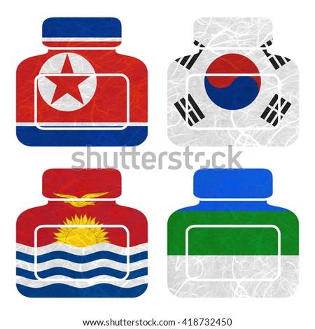 Nation Flag. Bottle recycled paper on white background. ( Kiribati , Komi , Korea North , Korea South ) - stock photo