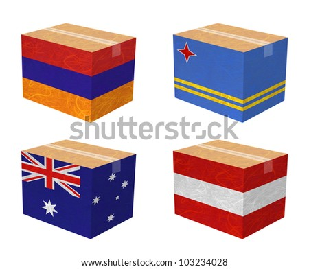 Nation Flag. Box recycled paper on white background. ( Armenia , Aruba , Australia , Austria ) - stock photo
