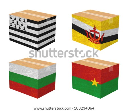 Nation Flag. Box recycled paper on white background. ( Brittany , Brunei Darussalam , Bulgaria , Burkina Faso ) - stock photo
