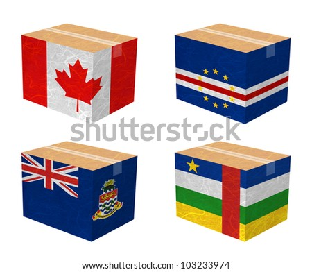 Nation Flag. Box recycled paper on white background. ( Canada , Cape Verde , Cayman Islands , Central African Republic ) - stock photo