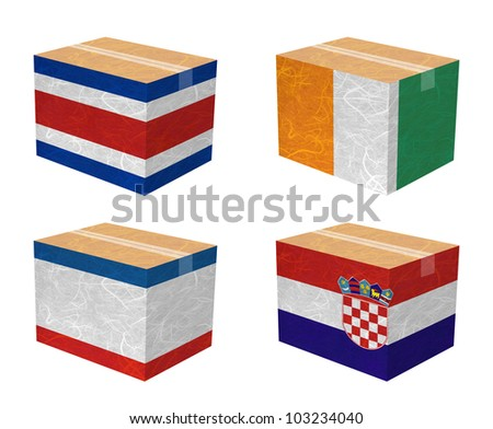 Nation Flag. Box recycled paper on white background. ( CostaRica, Cote dlvoire , Crimea , Croatia )