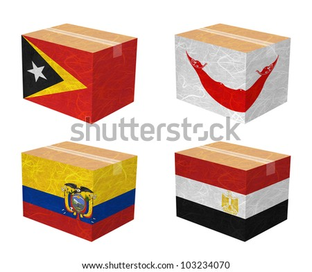 Nation Flag. Box recycled paper on white background. ( East Timor , Easter Island Rapa nui , Ecuador , Egypt ) - stock photo