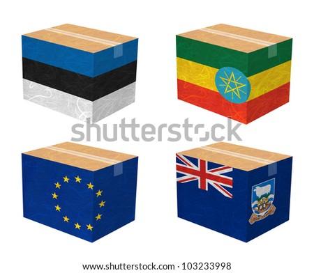 Nation Flag. Box recycled paper on white background. ( Estonia , Ethiopia , European Union , Falkland Islands ) - stock photo