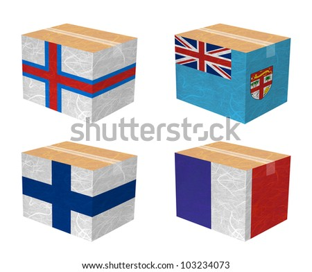 Nation Flag. Box recycled paper on white background. ( Faroe Islands , Fiji , Finland , France )