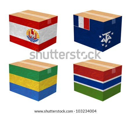 Nation Flag. Box recycled paper on white background. ( French Polynesia , French Southern and Antarctic Lands , Gabon , Gambia ) - stock photo