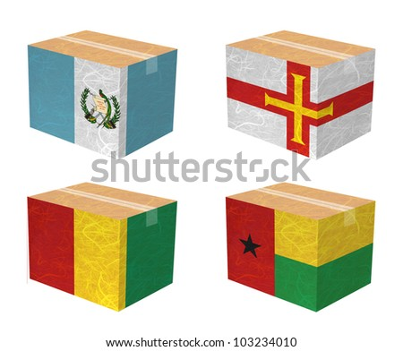 Nation Flag. Box recycled paper on white background. ( Guatemala , Guernsey , Guinea , Guinea-Bissau ) - stock photo