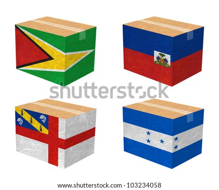 Nation Flag. Box recycled paper on white background. ( Guyana , Haiti , Herm , Honduras ) - stock photo