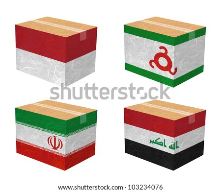 Nation Flag. Box recycled paper on white background. ( Indonesia , Ingushetia , Iran , Iraq )