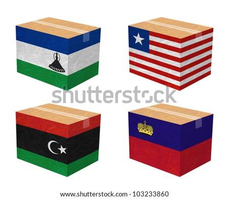 Nation Flag. Box recycled paper on white background. ( Lesotho , Liberia , Libya , Liechtenstein ) - stock photo