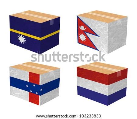 Nation Flag. Box recycled paper on white background. ( Nauru , Nepal , Netherlands Antilles , Netherlands ) - stock photo