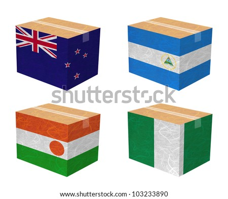 Nation Flag. Box recycled paper on white background. ( New Zealand , Nicaragua , Niger , Nigeria ) - stock photo