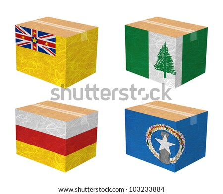 Nation Flag. Box recycled paper on white background. ( Niue , Norfolk Island , North Ossetia , Northern Mariana Islands ) - stock photo