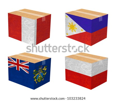 Nation Flag. Box recycled paper on white background. ( Peru , Philippines , Pitcairn Islands , Poland ) - stock photo