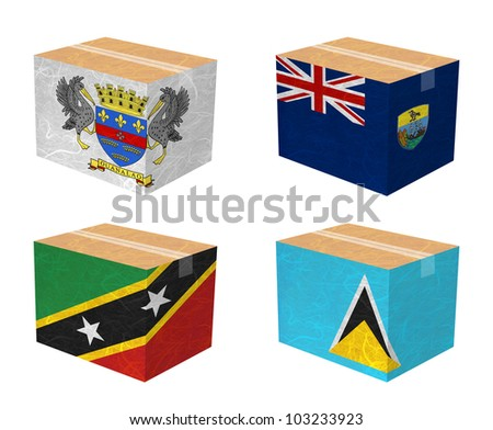 Nation Flag. Box recycled paper on white background. ( Saint Barthelemy , Saint Helena , Saint Kitts and Nevis , Saint Lucia )