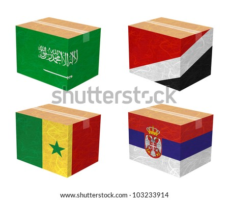 Nation Flag. Box recycled paper on white background. ( Saudi Arabia , Sealand Principality , Senegal , Serbia ) - stock photo