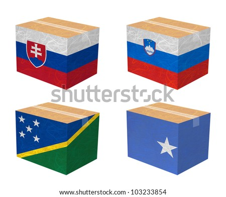 Nation Flag. Box recycled paper on white background. ( Slovakia , Slovenia , Solomon Islands , Somalia ) - stock photo