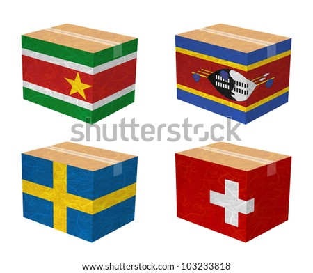 Nation Flag. Box recycled paper on white background. ( Suriname , Swaziland , Sweden , Switzerland ) - stock photo
