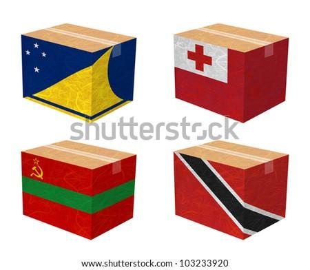 Nation Flag. Box recycled paper on white background. ( Tokelau , Tonga , Transnistria , Trinidad and Tobago ) - stock photo