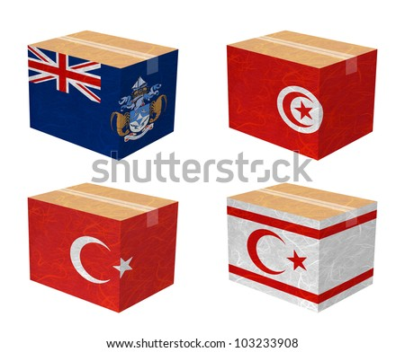 Nation Flag. Box recycled paper on white background. ( Tristan da Cunha , Tunisia , Turkey , Turkish Republic of Northern Cyprus ) - stock photo