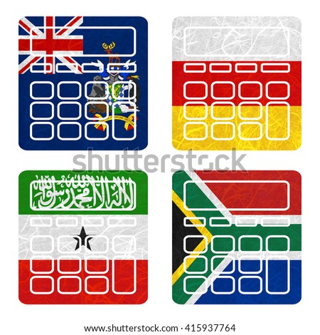 Nation Flag. Calculator recycled paper on white background. ( Somaliland , South Africa , South Georgia and the South Sandwich Islands , South Ossetia ) - stock photo