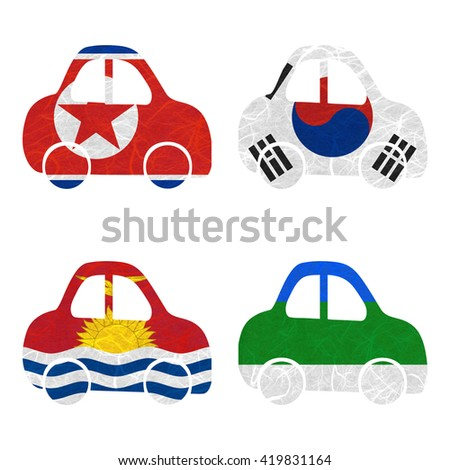 Nation Flag. Car recycled paper on white background. ( Kiribati , Komi , Korea North , Korea South ) - stock photo