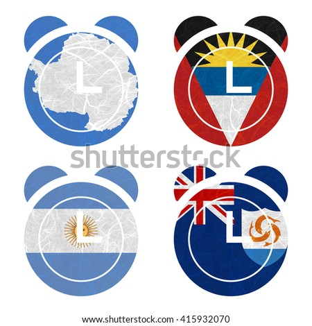 Nation Flag. Clock recycled paper on white background. ( Anguilla , Antarctica , Antigua and Barbuda , Argentina )