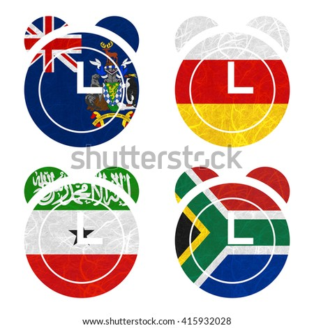 Nation Flag. Clock recycled paper on white background. ( Somaliland , South Africa , South Georgia and the South Sandwich Islands , South Ossetia ) - stock photo