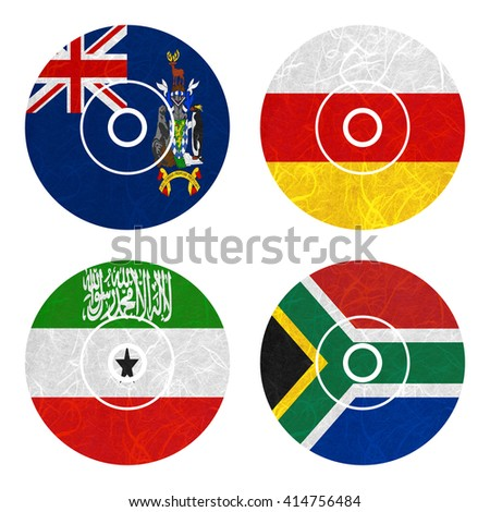 Nation Flag. DVD recycled paper on white background. ( Somaliland , South Africa , South Georgia and the South Sandwich Islands , South Ossetia ) - stock photo
