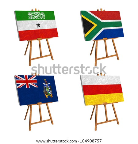 Nation Flag. Easel recycled paper on white background. ( Somaliland , South Africa , South Georgia and the South Sandwich Islands , South Ossetia )
