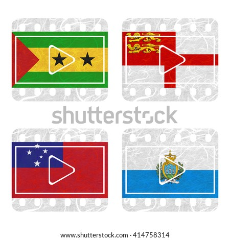 Nation Flag. Film recycled paper on white background. ( Samoa , San Marino , Sao Tome and Principe , Sark )