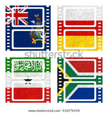 Nation Flag. Film recycled paper on white background. ( Somaliland , South Africa , South Georgia and the South Sandwich Islands , South Ossetia ) - stock photo